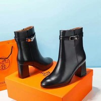 Hermes  Women Casual Shoes Boots fashionable casual leather Women Heels Sandal Shoes