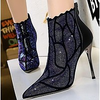 Hot style sexy metal super high heel pointed drill ankle boots shoes