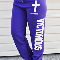 JCLU Forever Christian t-shirts — VICTORIOUS- SWEAT PANT- PURPLE