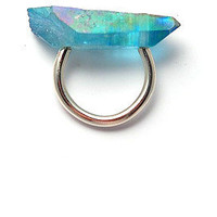 aqua aura crystal [crystal ring] : stone&honey
