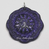 Purple and Black Vintage-Style Ceramic Pendant