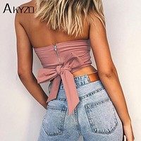 AKYZO Sexy Beach Off Shoulder Strapless Tank Tops 2017 Pink Bow Tie Casual Cute Summer Female Short Crop Tops Camis Feminino
