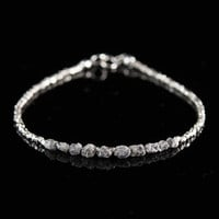 Raw Diamond Bracelet, Rough Silver Grey Diamonds and Tiny Sterling Silver Beads, Dainty and Delicate Bracelet