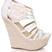 open toe braided jute wedge with side rosette  - debshops.com