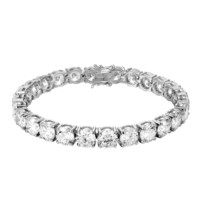 Custom 14k White Gold Finish 8mm Designer Solitaire Tennis Link Bracelet