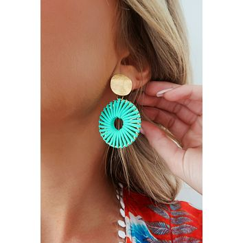 All For This Earrings: Gold/Turquoise