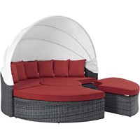 Summon Canopy Outdoor Patio Sunbrella® Daybed Canvas Red EEI-1997-GRY-RED