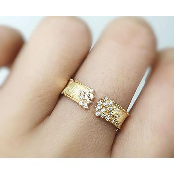 SALE  14K Yellow Gold Open Engagement Band