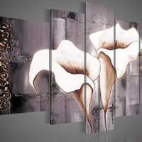 Santin Art - 100% Hand-painted Free Shipping Wood Framed Brown Lily Fashion Flower Home Decoration Abstract Landscape Oil Painting on Canvas 5pcs/set Mixorde:Amazon:Home & Kitchen