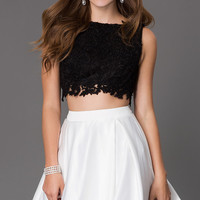 Short Black and White Two Piece Homecoming Dress