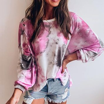 2020 autumn new loose tie-dye contrast color round neck T-shirt sweater