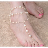 Pearl anklet handmade beaded with anklet