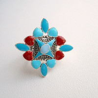 Vintage Jewelry Silver Tone Aqua and Red Stones Adjustable Ring