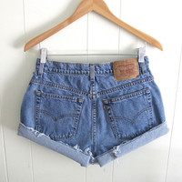 Vtg Medium Wash Levi's High Waisted Cut Off Denim Shorts Blue Jean Cuffed 29""