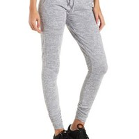 Lt Gray Heather Marled Sweater Knit Jogger Pants by Charlotte Russe