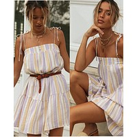 2020 new women's striped lace stitching big skirt sexy suspender dress