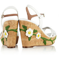 REDValentino Floral-appliquéd leather wedge sandals – 56% at THE OUTNET.COM