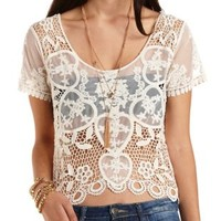 Crocheted Mesh Crop Top by Charlotte Russe - Ivory