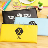 Fashion style EXO PU leather pen pouch Candy color pencil case zipper pen bag for school Stationery storage bag office supplies