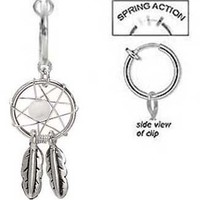 Fake Belly Navel Non Clip on Piercing Pretty Cz Clear Dream catcher dreamcatcher Dangle Ring