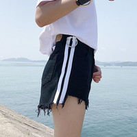 Fashion Multicolor Stitching Ring High Waist Wide Leg Denim Shorts Hot Pants Jeans
