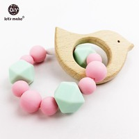 Let's Make Silicone Teether Bracelet For Newborn Baby Mint&Pink Lovely Girls Toys Wooden Teething Bird Baby Toys Baby Teether