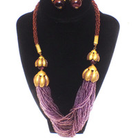 Haskell Necklace and Earrings Set, Amethyst Seed Bead, Braided Silk, Goldtone and Art Glass, 1960s, Signed