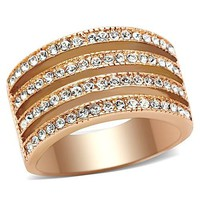 4 Row Round CZ Rose Gold Stainless Steel Ring