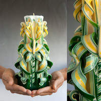 Carved candle - Large candle - Green candle