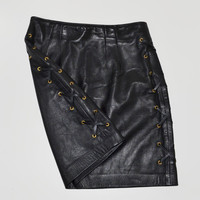 Vintage Lace Up Black Leather Skirt 1980s High Waisted Black Leather skirt Mini Skirt Size 8