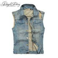Trendy DAVYDAISY Jeans Vest Men Sleeveless Jacket Washed Light Blue Hip Hop Vintage Ripped Cowboy Men Casual Denim Waistcoat DCT-076 AT_94_13