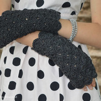 arm warmer fingerless mittens spring fashion wool mittens  charcoal  hand knit gloves fashion accessories  fingerless gloves wool mittens