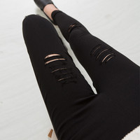 2016 Cotton High Elastic Imitate Jeans Woman Knee Skinny Pencil Pants Slim Ripped  Jeans For Women Black Ripped Jeans XXXL JN079