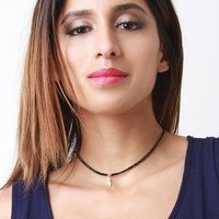 Beaded Feather Choker Necklace