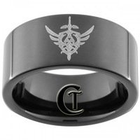 9mm Tungsten Carbide Pipe Legend of Zelda Design Ring Sizes 5-15