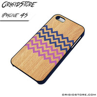 Geometrical Wood Chevron Case For Iphone 4/4S Case