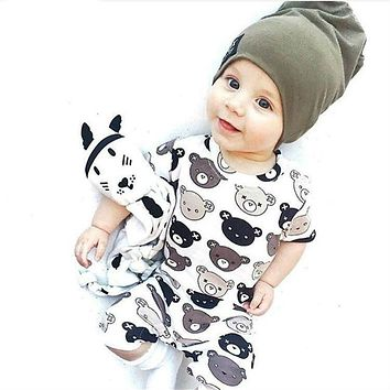 Children's Clothing Baby Short Sleeve Cartoon Bear Jumpsuit Overalls born Rompers Baby Boy Girl Clothes