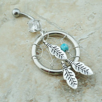 Belly Button Jewelry Ring Turquoise Dream Catcher by MidnightsMojo
