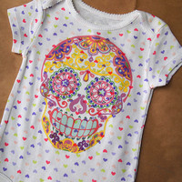 9M Sugar Skull Romper. Pink hearts Day of the Dead Onesuit. Psychedelic Printed Creeper Kids Bodysuit. Trendy Baby Girl Clothes