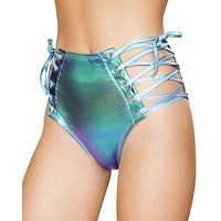 Holographic Side Lace-Up Shorts