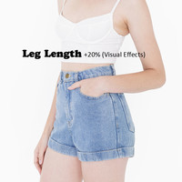 American apparel women classic High-Waist Jean Rolled Cuff Shorts AA Girls Sexy Denim Shorts Plus Size 29 Shorts For 4 Season