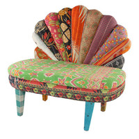 Green & Orange Peacock Love Seat