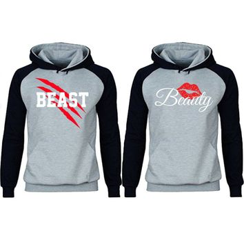 New Beast and Beauty Two-tone Gray / Black Raglan Hoodie