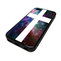 Apple iPhone 5C 5 C Case Cover Skin White Cross Nebula DESIGN BLACK RUBBER SILICONE Teen Gift Vintage Hipster Fashion Design Art Print Cell Phone Accessories