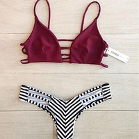 Edgy Fashion Stripe Hollow Print Strap Bikini Set Swimsuit Swimwear