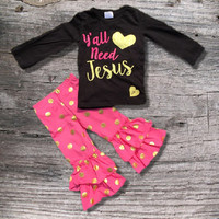 """Big Sale! Baby Girl's Outfit, """"Ya'll Need Jesus"""", Hot Pink Gold Dot, Girls Clothes, Toddler Girl Outfit, Kids Clothes, Children's Clothing"""