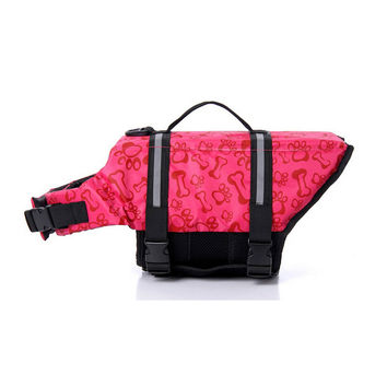 Dog life Jacket Safer Vest Swimming Jacket Flotation Float life Jacket Pink Bone XXS