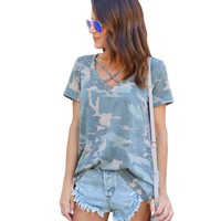 new Women Tops Sexy Camouflage Print T-shirt size sml