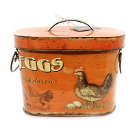 Home & Garden TIN CONTAINER W/ROOSTER & EGGS Decorative Use Only De1939 Small