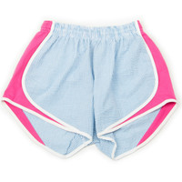LAUREN JAMES SEERSUCKER SHORTIES - TURQUOISE/PINK